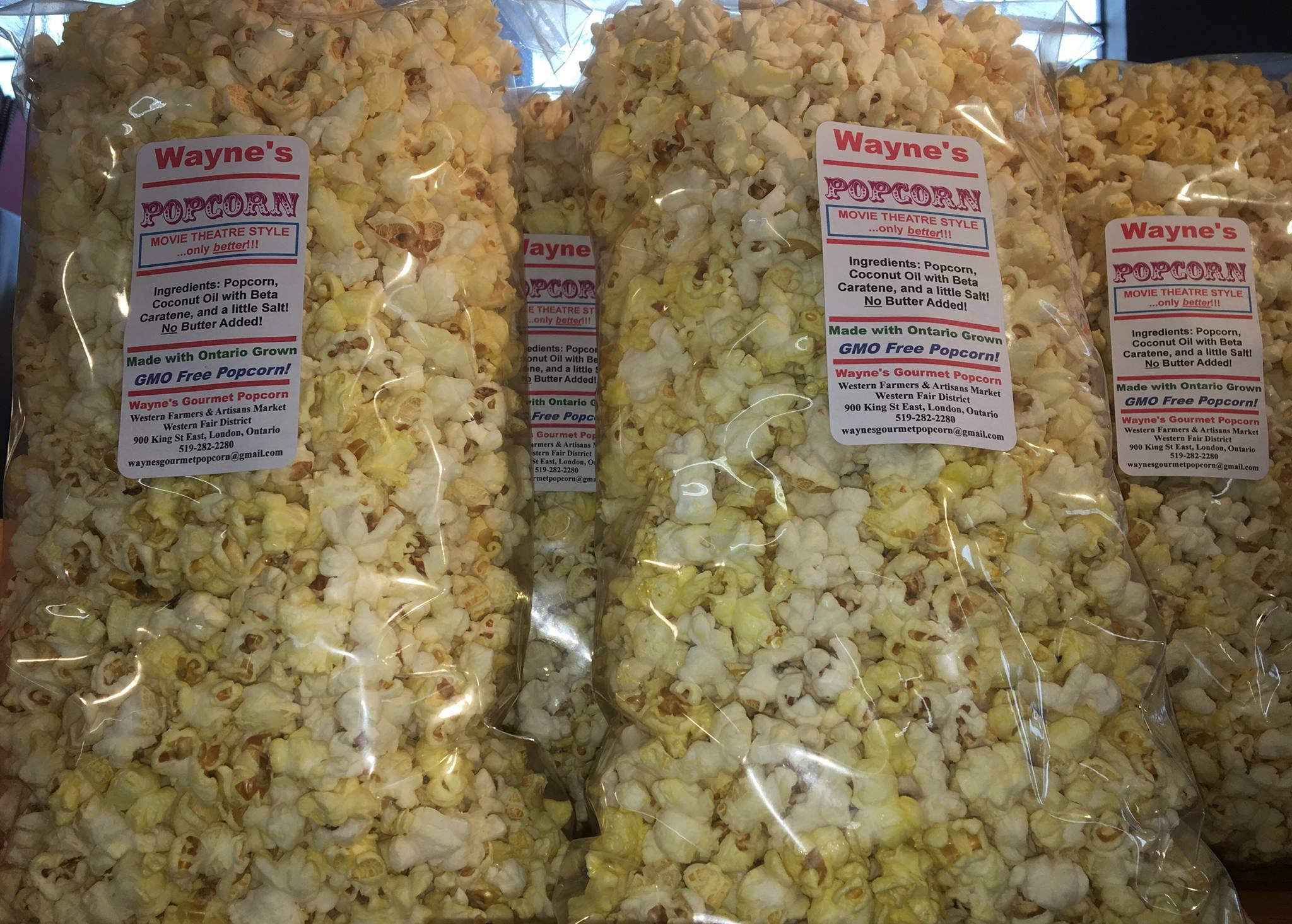 Wayne's Gourmet Popcorn Logo